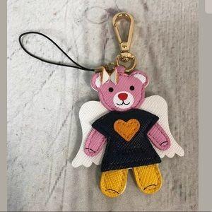 PRADA Bear Keychain Angel Bag Charm Pink Bow